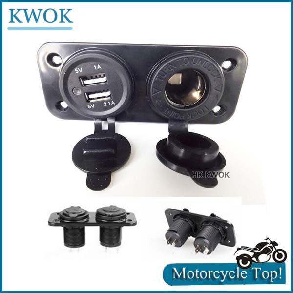Кабели, переходники и розетки для авто Kwok USB USB 12V 2.1A 1A P3 защита от кражи для мотоцикла hk kwok 12v 18 25