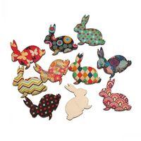 Dorabeads Wood Embellishments Findings Rabbit Animal Mixed Flower Pattern 3cm x 3cm,100 PCs