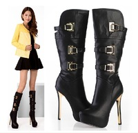 2014 Lastest Fashion Women 14CM high heels women winter boots/Sexy buckle knee high boots  3color Free shipping
