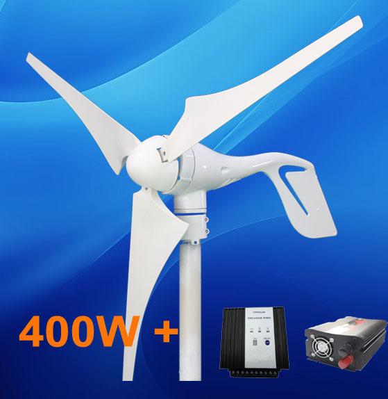 home use 400w power supply windmill turbine Generator+ hybrid 600w charger regulator controller+500w inverter(China (Mainland))