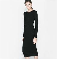 New 2014 Autumn Winter Dress For Women Black Knitted Rib Long Sleeve Slim Long One-Piece Dress Plus Size Office Desigual Dresses