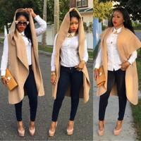 014 winter explosion beautiful camel long coat vest vest jacket OM244 jakets women and coats sleeveless jean jacket plaid coat