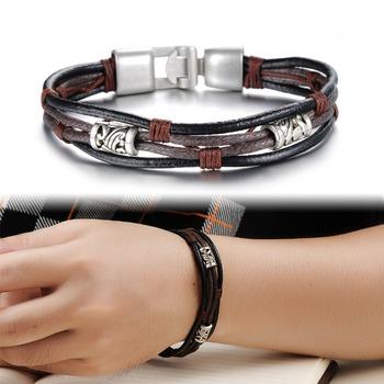 Горячая распродажа мода ретро племенной MultiWrap спорт кожаный браслет веревку цепи ...