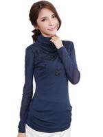 Free Shipping Fall Winter cloths large elegant dynamic folding swing high collar T-shirt hot drilling   XL XXL XXXL XXXXL