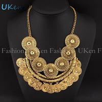2014 Fashion Indian Design Necklaces Vintage Gold Chain Craving Coin Tassels Women Charm Statement Necklaces & Pendants N2594