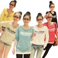 2014 New women's loose o-neck pullover  plus size medium-long letter  sweatshirt Loose sleeve T-shirt M*E1363#M1