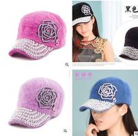 2014 new winter women fashion rose pearl rhinestone rabbit baseball cap
