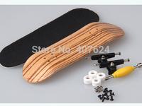 Professional zebra color maple Wood Fingerboard bearing wheels top configure Maple wood skateboard Zipper bag packing