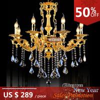 Gold color Crystal Chandelier Candle Light Metal Chandelier Lighting Fixture 8 lights Fast Shipping