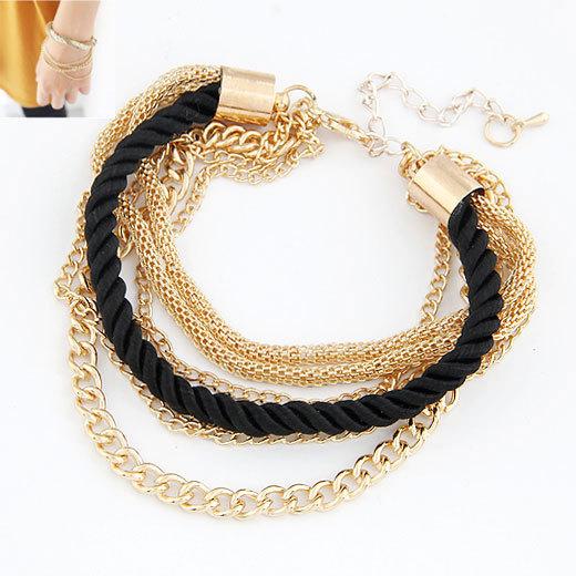 Fashion black luxury braided multilayer bracelet alloy bangle fashion jewelry 18k gold plated pulseras pulseiras women bracelets(China (Mainland))