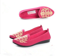 Cotton-made  women flat shoes  ladies flat shoes single shoes solid colors elegant embroidery soft outsole breathable uppers
