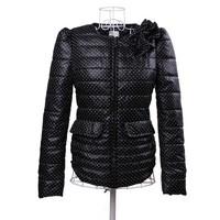 Cotton-Padded Sweet Lady Slim Dot Jacket Size S-XL Flower Pattern Decorate Puff Sleeve Women Casual Short Coats