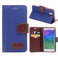 New Cowboy Jeans Style Denim Canvas Clip Case for Samsung Galaxy Alpha G850 Stand Flip Leather Cover With Card Holder Holster