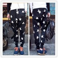 2014 Fashion Casual Man Star Harem Pants Hot Sale Men's Star Printing Hip Hop Pants Harem Dance Jogger Baggy Trousers EJ658003