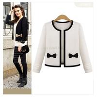 2014 New Autumn Women Outerwear Sweet Bowknot Short Slim Ladies Jacket Casual Coat Black/White M L XL B2#