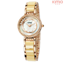 KIMIO New Analog Display Rhinestone Case Shell Dial Luxury Gold Fashion Lady Quartz Watch Women Wristwatch