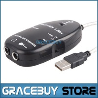 Guitar to USB Interface Link Audio Cable PC/MAC Recording Black Adapter Brand New