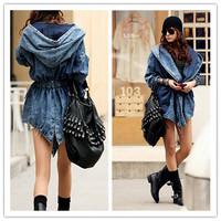 New Girl's Denim Oversized Hoodie Hooded Outerwear Jean Wind Jacket 2014 Fashion Design Denim Women Coat EJ658055