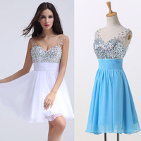 New Free Shipping Sexy Empire White Short Deep Sky Blue Prom Dress Ball Gown Formal Evening Dresses Concealed zipper back 7507