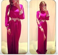 2014 fall fashion new style women's long-sleeved round neck dress solid color chiffon dress and manner sexy  party dress