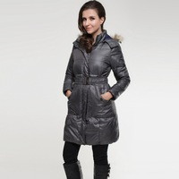 Black Outdoor Fur Collar Winter Woman Long Jackets Size S-XL With Belt Warm Women Slim Down Coats Lady Hooded Casual Parkas