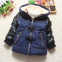 Top 2014 Autumn Winter Brand Children's Outerwear Boy Children Casual Thickening Warm Cotton-padded Coat Jacket With Horn Button