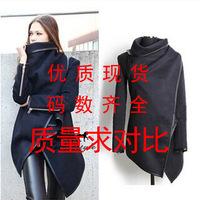 2014 autumn new women's slim fit leather trim asymmetrical rules in Europe and America windbreaker warm coat