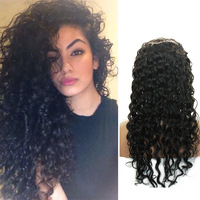 Free Shipping stock color 100% Brazilian Full Lace Wig Curly Virgin Human Hair With Baby Hair 8-28inch In Stock Afro Curly Hair