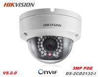 Fast shipping Hikvision DS-2CD2132-I 3MP Network Mini Dome Camera cctv camera 30M IR Digital HD POE