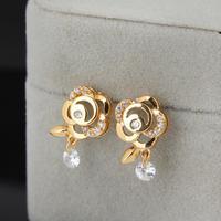 Fashion 2014 heat / new / green copper gold plating 18K Flower Shape Earrings