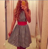 hot sale women clothes 2014 summer new women's casual round neck sleeveless dress striped chiffon dress free shipping