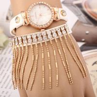 New 2014 Fashion Women Classic long fringed leather watches,Set Full Rhinestone watch Chain Bracelet Quartz Wristwatch