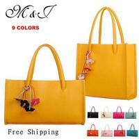 New 2014 Candy Color Women Leather Handbags large capacity flower hangings ladies tote fashion women handbag women shoulder bag