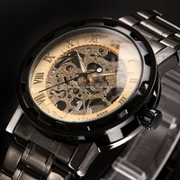 Sewor Classic Skeleton Retro Gold Dial Steel Strap Relojes Hand Wind Mechanical Analog Men Business Casual Wrist Watch / PMW239