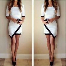 2015 women fashion dress sexy black and white irregular dress hip contrast color stitching sleeve dress(China (Mainland))