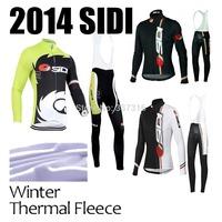 High quality!2014 SIDI Winter Thermal Fleece long sleeve Cycling Jersey and bib pants Ropa Ciclismo 3 Style MTB Clothing C467