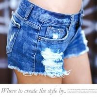 new spring 2014 fashion shorts women denim female shorts solid blue short Jeans hole Style Free Shipping women a shorts 9295