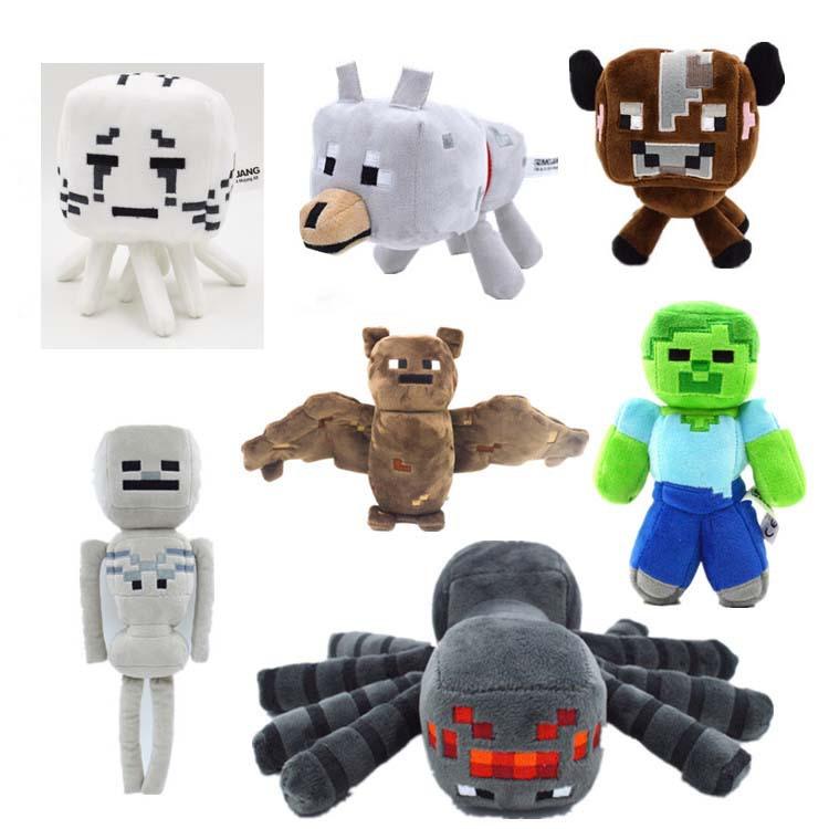 Minecraft Plush Toys Minecraft Game Cartoon Toys Ghast Cow Wolf Spider Skeleton Bat Zombie Brinquedos Children Gift(China (Mainland))