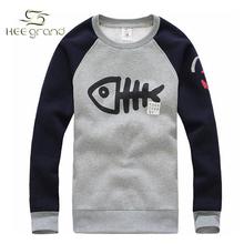 2015 Hot Sale Men's Fashion O-neck Big Fish Design Hoodies Male Casual High Quality Sweatshirts Autumn Winter Wear MWW207(China (Mainland))