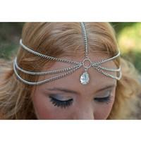 Gold Teardrop Crystal Hairband Hair accessories Crown Hair jewelry Headband Styling Tools Head Chain Head Jewelry CF102