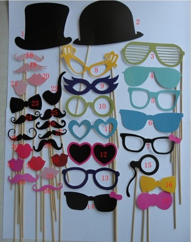 Wedding wedding props Prop 36 piece set paper mustache lips Yingbin wacky fun party items(China (Mainland))