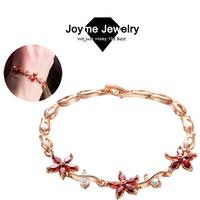 Joyme 2014 new 18k rose gold plated Cubic Zirconia Flower Bracelets for women chain Bracelet & Bangles BR0013
