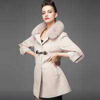 2014 medium-long woolen outerwear autumn and winter overcoat fox fur cashmere overcoat