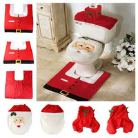 Free Shipping For Christmas 1Lot Fancy Santa Toilet Seat Cover and Rug Bathroom Set Contour Rug Christmas Decoration 4016-557