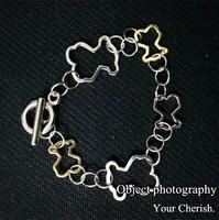 Cute Bear Cuff Bracelets for Men Women Gold Silver Plated Fashion Charm Pulseiras Femininas Masculina Bijoux Accessories