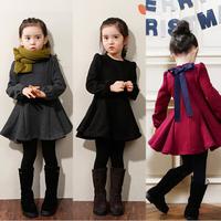 2014 Kids fall and winter clothes Korean female children plus thick velvet bow dress girls long-sleeved dressxjh11