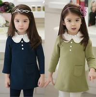2014 winter Children's cotton dress doll collar girls dress children dress kids dressxjh12