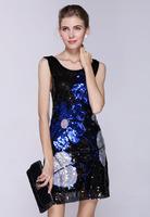 European style 2015 new design sequins flowers women summer dress clubwear vestidos de festa causal bandage dress dropshipping