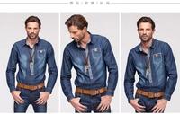 Free shipping Breathable full sleeve shirt casual slim fit men shirt popular jean shirt Fabrics is comfortable