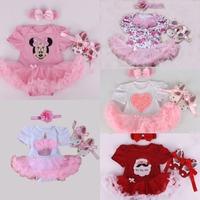 Retail 2015 Baby Girl Infant 3pcs Clothing Sets Tutu Romper Dress/Jumpersuit+Headband+Shoes Christmas Costumes Vestidos